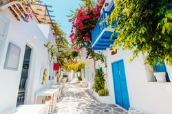 Traditional greek street on Paros island, Greece