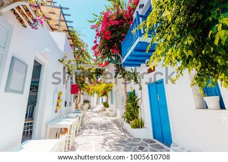Traditional greek street on Paros island, Greece