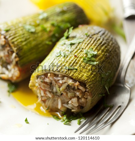 traditional greek stuffed zucchini