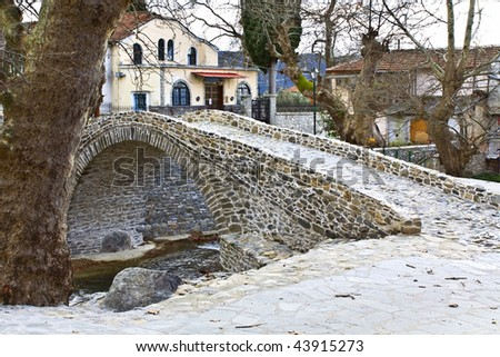 Traditional Greek village of Moustheni near Kavala city at north Greece