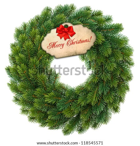 traditional green christmas wreath with gift tag and red ribbon bow isolated on white background. festive decoration