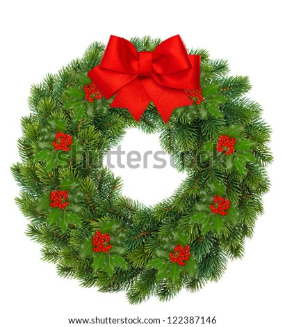 traditional green christmas wreath with holly berry and red ribbon bow isolated on white background. festive decoration