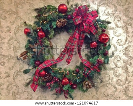 Traditional Green Christmas Wreath with Ribbons, and Red Balls