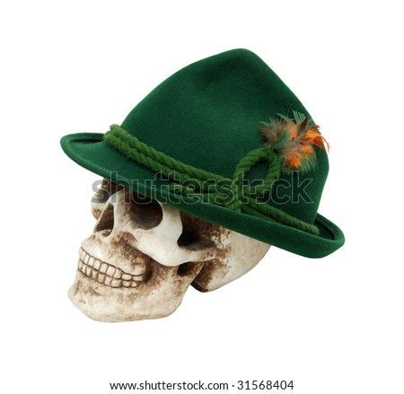 Traditional green felt German alpine hat with rope twists and bright feathers on a skull - path included