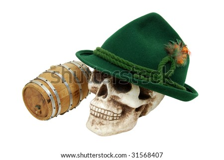 Traditional green felt German alpine hat with rope twists and bright feathers on a skull with an oak barrel nearby - path included