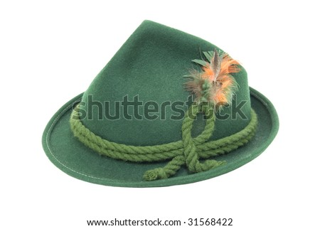 Traditional green felt German alpine hat with rope twists and bright feathers - path included