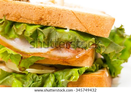 Traditional Grilled Club Sandwich With Chicken And Tomatoes Macro