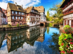 Traditional half-timbered houses in La Petite France, Strasbourg, Alsace, France