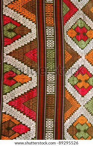 Traditional hand-woven fabrics in Thai pattern design