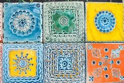 Traditional handmade azulejos portuguese decorative tiles artistic colorful design background. Creative beautiful texture surface