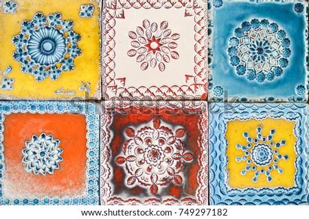 Traditional handmade azulejos portuguese decorative tiles artistic colorful design background. Creative beautiful texture surface
