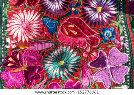 Traditional handmade guatemalan flower design fabric