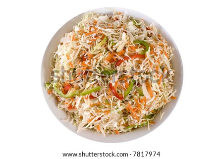 Traditional healthy coleslaw salad. Cabbage, celery, bell peppers, capsicum and shredded carrot.