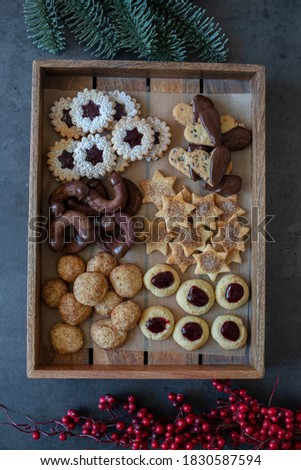 Traditional home made German Christmas Cookies on a festive table Photo stock ©