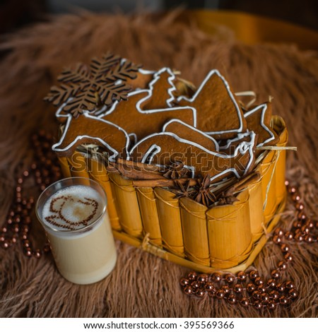 Traditional homemade cakes, cookies for the holiday Christmas with decorated with milk or cocoa #395569366