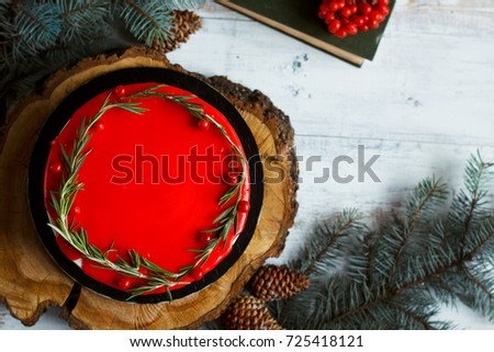 Traditional homemade chocolate cake Christmas holiday dessert in the new year tree decoration on old concrete background. Copy space. #725418121