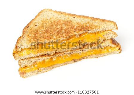 Traditional Homemade Grilled Cheese Sandwich on Whole Wheat Bread