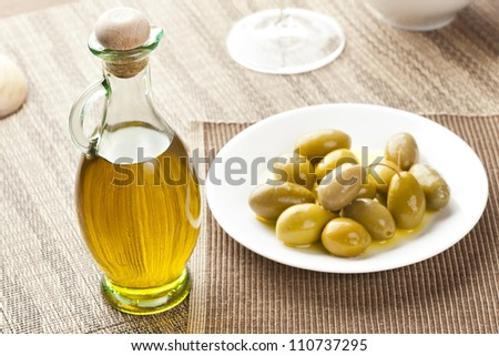 Traditional Homemade Olive Oil on a background