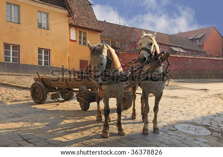 Traditional horses and wagon at the entrance in the historical fortress of Sighisoara,Transylvania,Romania. - stock photo