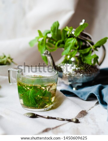 Traditional hot mint moroccan tea served in a transparent cup. Metal teapot with fresh mint on the background. Dry leaves and vintage spoon as decor. Gentle herbal detox, natural depressant #1450609625