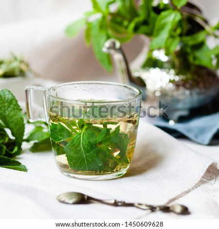 Traditional hot mint moroccan tea served in a transparent cup. Metal teapot with fresh mint on the background. Dry leaves and vintage spoon as decor. Gentle herbal detox, natural depressant #1450609628