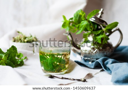 Traditional hot mint moroccan tea served in a transparent cup. Metal teapot with fresh mint on the background. Dry leaves and vintage spoon as decor. Gentle detox, natural depressant #1450609637
