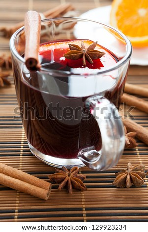traditional hot mulled wine, glass cup