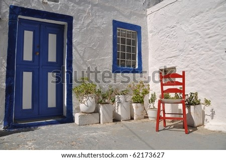 traditional house and chair in Zia village (Kos), Greece
