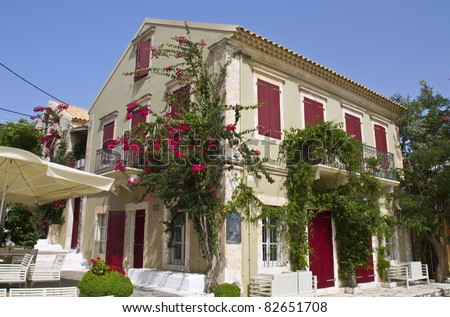 stock-photo-traditional-house-at-fiscardo-village-of-kefalonia-island-in-greece-82651708
