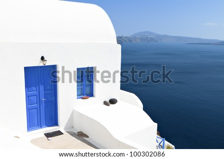 Traditional house at Oia village of Santorini island in Greece