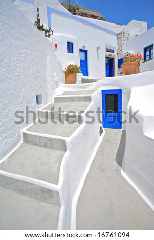 Traditional house in Oia village on Santorini island, Greece