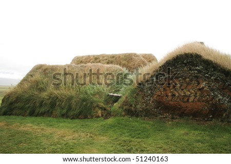 Traditional house made of turf and covered in grass in Iceland