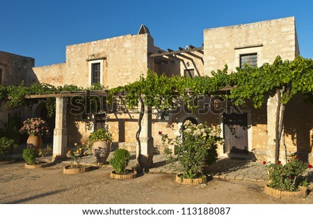 Traditional houses at Moni Arkadiou monastery of Crete island in Greece
