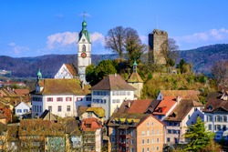 Traditional houses, church and castle ruins of the medieval old town Laufenburg on german swiss border, Switzerland