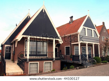 Traditional houses in a Dutch town Volendam