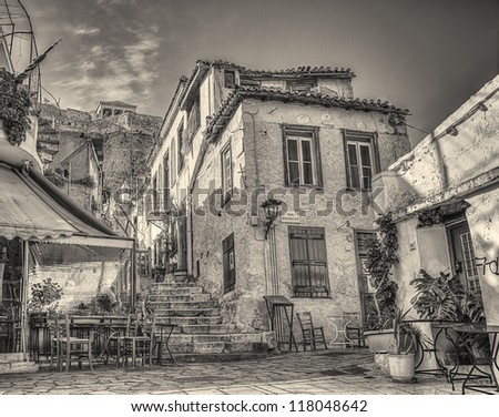 Traditional houses in Plaka area under Acropolis,Athens,Greece