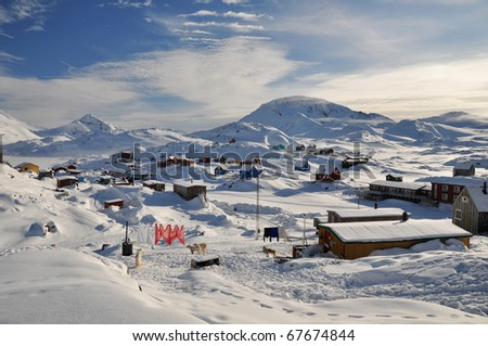Traditional houses in the Kulusuk village, winter,Greenland