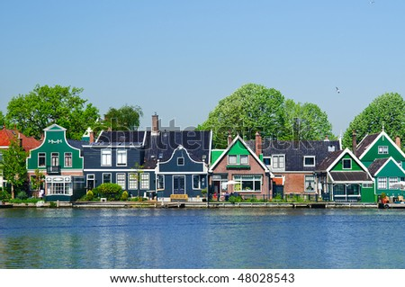 traditional houses near the canal. ZAANSE SCHANS in holland - stock photo