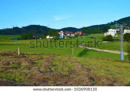Traditional houses of the Basque Country among green mountains in spring. #1036908130