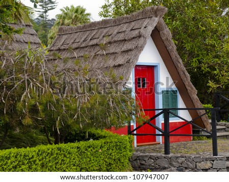 traditional houses with triangular rooftops protected by straw - Madeira