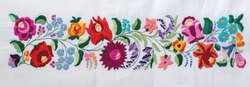 Traditional Hungarian embroidery is made on the foot sewing machine
