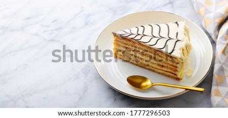 Traditional Hungarian Esterhazy cake, torte. Marble background. Copy space. Zdjęcia stock ©