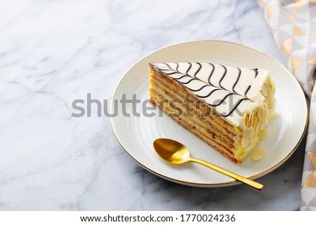 Traditional Hungarian Esterhazy cake, torte. Marble background. Copy space. Close up. Zdjęcia stock ©