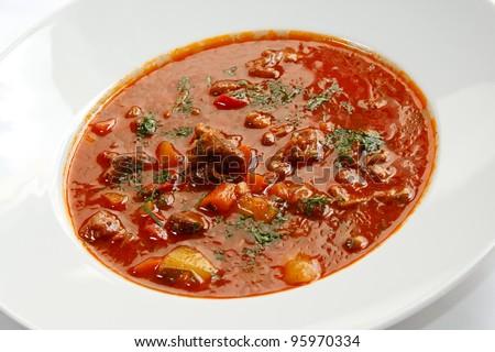 Traditional Hungarian Hot Goulash Soup Stock Photo 95970334 ...