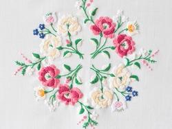 traditional Hungarian matyo embroidery motifs. Handmade clothe