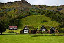Traditional Icelandic houses with grass roof in Skogar Folk Museum, Iceland