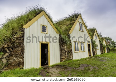 Traditional Icelandic Turf Houses in West Iceland