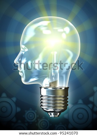 Traditional incandescent light bulb in the shape of an human head. Digital illustration.