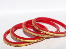 Traditional Indian bangles jewelry. Selective focus on bangles.