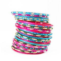 Traditional Indian bangles with different colors and patterns.